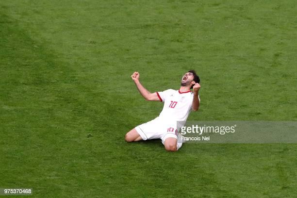 Karim Ansarifard of Iran celebrates during the 2018 FIFA World Cup Russia group B match between Morocco and Iran at Saint Petersburg Stadium on June...