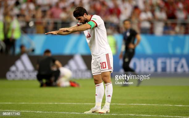 Karim Ansarifard of Iran gestures folowing the 2018 FIFA World Cup Russia group B match between Iran and Portugal at Mordovia Arena on June 25 2018...