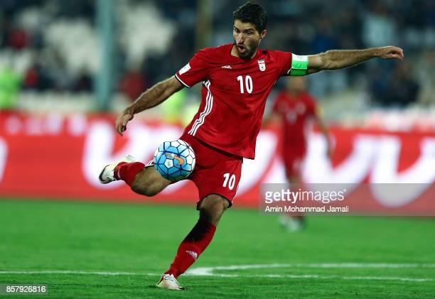 Karim Ansarifard of Iran in action during the international friendly match between Iran and Togo at Azadi Stadium on October 5 2017 in Tehran Iran