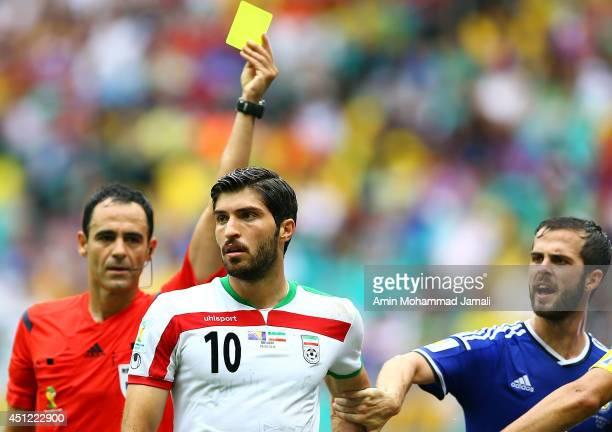 Karim Ansarifard of Iran looks on during the 2014 FIFA World Cup Brazil Group F match between Bosnia and Herzegovina and Iran at Arena Fonte Nova on...