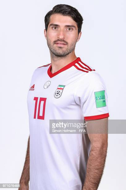 Karim Ansarifard of Iran poses during the official FIFA World Cup 2018 portrait session at Bakovka Training Base on June 9 2018 in Moscow Russia