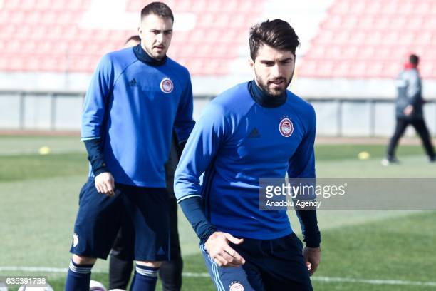 Karim Ansarifard of Olympiacos FC attends a training session prior to the UEFA Europa League soccer match between Olympiacos FC and Osmanlispor at...