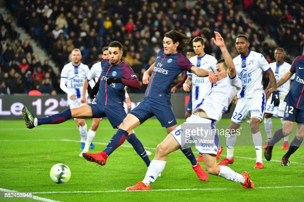 Karim Azamoum of Troyes Edinson Cavani of PSG and Layvin Kurzawa of PSG during the Ligue 1 match between Paris Saint Germain and Troyes Estac at Parc...