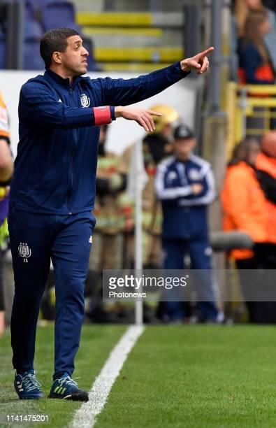 Karim Belhocine head coach of Anderlecht gestures pictured during the Jupiler Pro League match between RSC Anderlecht and Standard de Liege at the...
