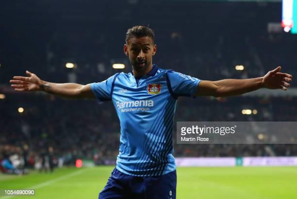 Karim Bellarabi of Bayer 04 Leverkusen celebrates scoring his sides third goal during the Bundesliga match between SV Werder Bremen and Bayer 04...