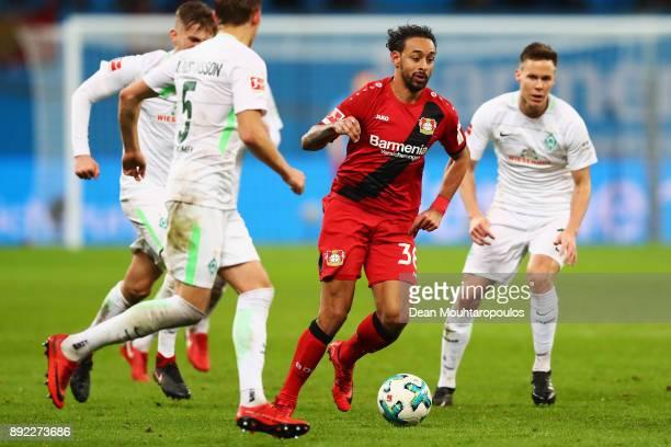 Karim Bellarabi of Bayer 04 Leverkusen in action during the Bundesliga match between Bayer 04 Leverkusen and SV Werder Bremen at BayArena on December...