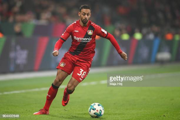 Karim Bellarabi of Bayer Leverkusen controls the ball during the Bundesliga match between Bayer 04 Leverkusen and FC Bayern Muenchen at BayArena on...