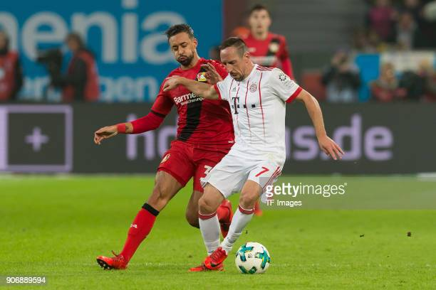 Karim Bellarabi of Leverkusen and Franck Ribery of Muenchen battle for the ball during the Bundesliga match between Bayer 04 Leverkusen and FC Bayern...