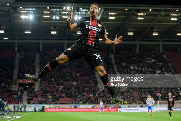 Karim Bellarabi of Leverkusen celebrates after scoring the 14 lead during the Bundesliga match between 1 FSV Mainz 05 and Bayer 04 Leverkusen at the...