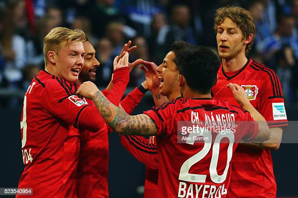 Karim Bellarabi of Leverkusen celebrates his team's second goal with team mates Julian Brandt Javier Hernandez Charles Aranguiz and Stefan Kiessling...