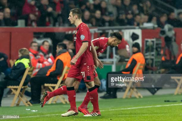 Karim Bellarabi of Leverkusen comes on as a substitute for Dominik Kohr of Leverkusen during the DFB Cup match between Bayer Leverkusen and Werder...