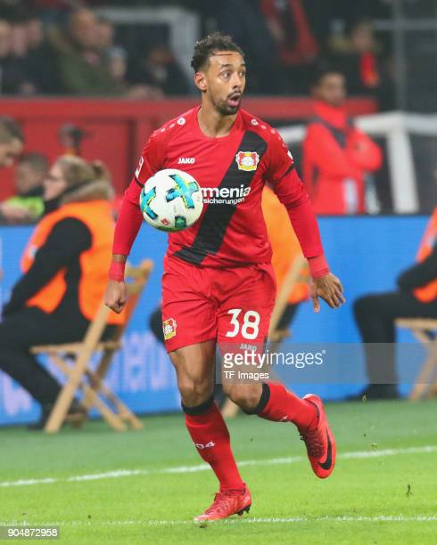 Karim Bellarabi of Leverkusen controls the ball during the Bundesliga match between Bayer 04 Leverkusen and FC Bayern Muenchen at BayArena on January...