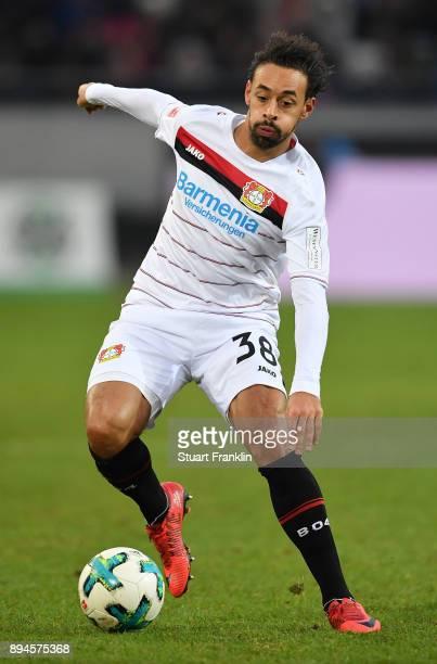 Karim Bellarabi of Leverkusen in action during the Bundesliga match between Hannover 96 and Bayer 04 Leverkusen at HDIArena on December 17 2017 in...
