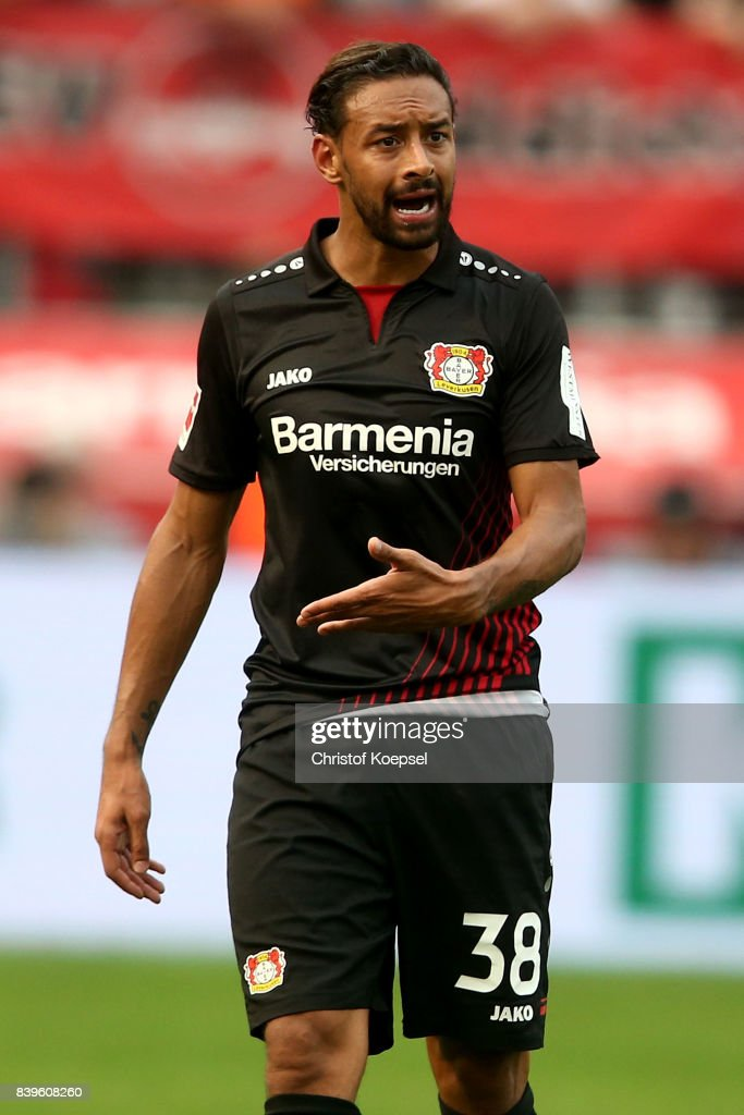 Karim Bellarabi of Leverkusen is seen during the Bundesliga match between Bayer 04 Leverkusen and TSG 1899 Hoffenheim at BayArena on August 26, 2017 in Leverkusen, Germany.