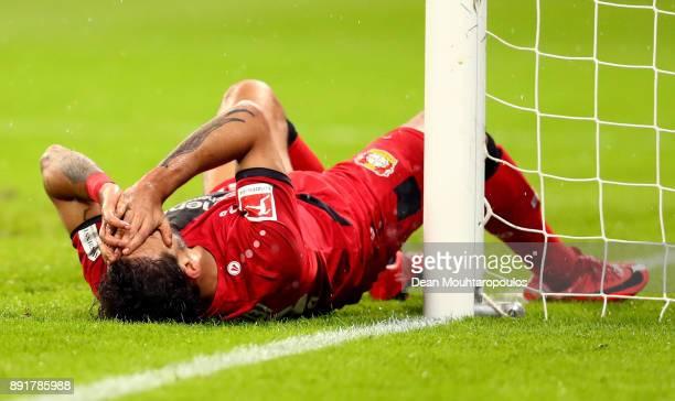 Karim Bellarabi of Leverkusen reacts during the Bundesliga match between Bayer 04 Leverkusen and SV Werder Bremen at BayArena on December 13 2017 in...