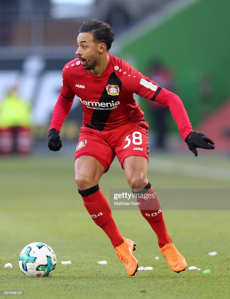 Karim Bellarabi of Leverkusen runs with the ball during the Bundesliga match between VfL Wolfsburg and Bayer 04 Leverkusen at Volkswagen Arena on March 3, 2018 in Wolfsburg, Germany.
