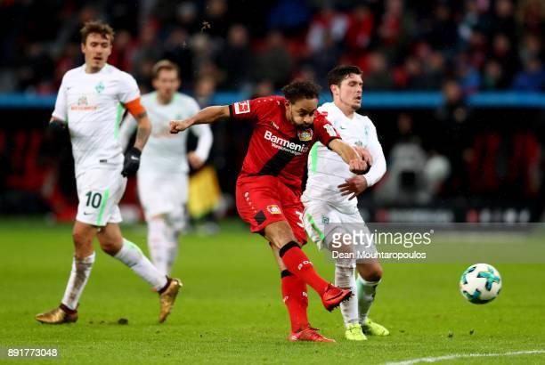 Karim Bellarabi of Leverkusen shoots on goal during the Bundesliga match between Bayer 04 Leverkusen and SV Werder Bremen at BayArena on December 13...