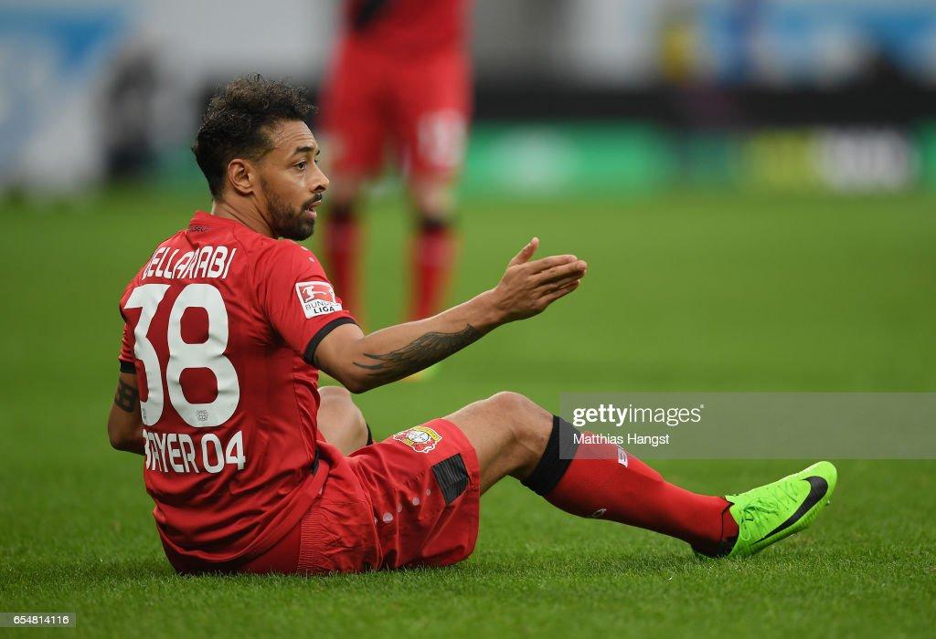 Karim Bellarabi of Leverkusen shows his disappointment during the Bundesliga match between TSG 1899 Hoffenheim and Bayer 04 Leverkusen at Wirsol Rhein-Neckar-Arena on March 18, 2017 in Sinsheim, Germany.