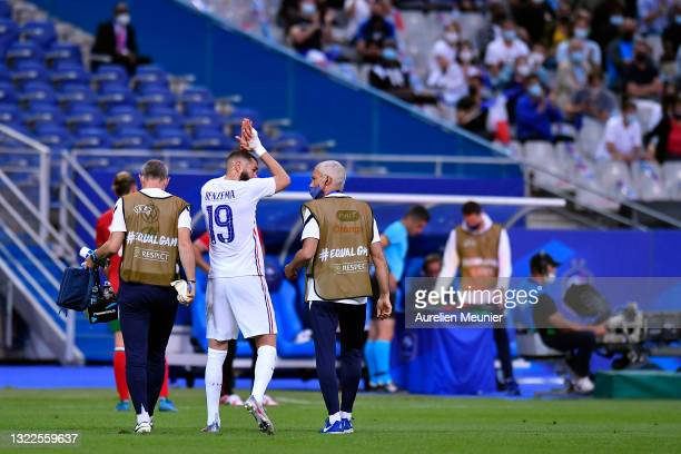 Karim Benzama of France exits after an injury during the international friendly match between France and Bulgaria at Stade de France on June 08, 2021...