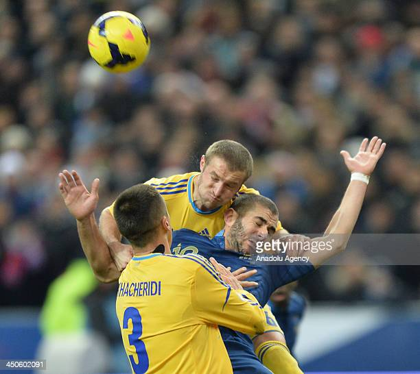 Karim Benzama of France in action against Ruslan Rotan of Ukraine during the FIFA World Cup 2014 qualifying football match between France vs Ukraine...