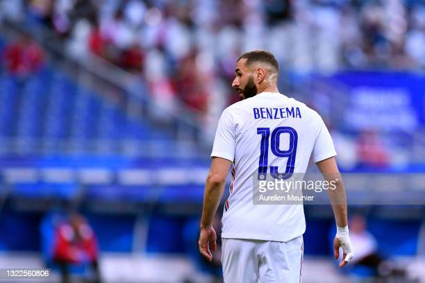 Karim Benzama of France looks on during the international friendly match between France and Bulgaria at Stade de France on June 08, 2021 in Paris,...