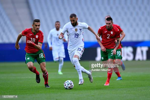 Karim Benzama of France runs with the ball during the international friendly match between France and Bulgaria at Stade de France on June 08, 2021 in...