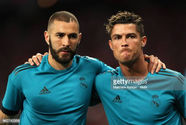 Karim Benzema and Cristiano Ronaldo of Real Madrid warm up before the UEFA Champions League final between Real Madrid and Liverpool on May 26 2018 in...