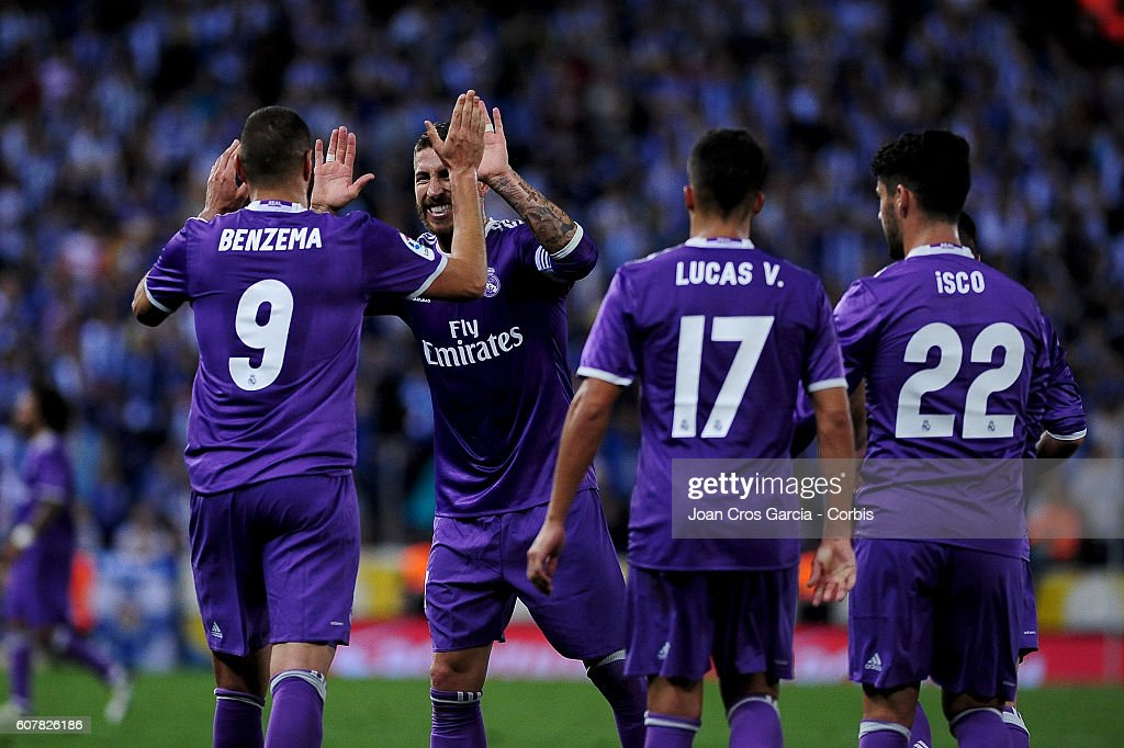 Karim Benzema and Sergio Ramos of Real Madrid, celebrating the Benzema goal during the Spanish League match between RCD Espanyol vs Real Madrid CF at Cornella el Prat Stadium, on September 18, 2016 in Cornella, Spain. (Photo by Joan Cros Garcia/Corbis via Getty Images)'n