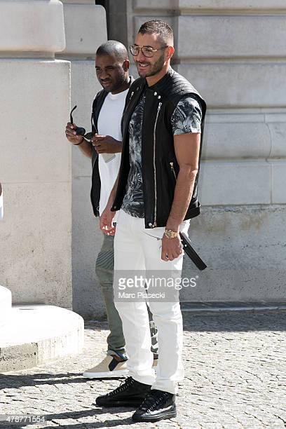 Karim Benzema attends the Balmain Menswear Spring/Summer 2016 show as part of Paris Fashion Week on June 27 2015 in Paris France