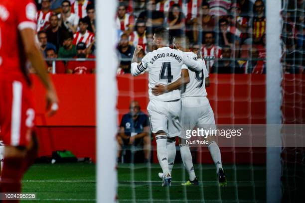 09 Karim Benzema from France of Real Madrid celebrating hhis goal with 04 Sergio Ramos from Spain of Real Madrid during the La Liga game between...