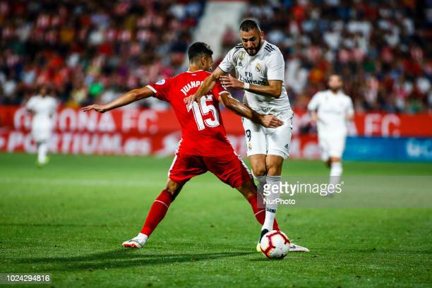 09 Karim Benzema from France of Real Madrid during the La Liga game between Girona FC against Real Madrid in Montilivi Stadium at Girona on 26 of...