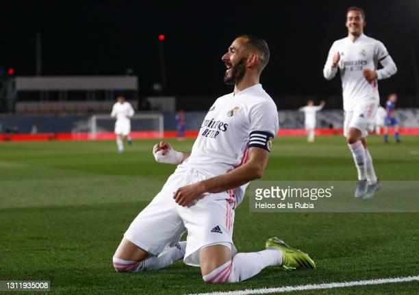 Karim Benzema from Real Madrid CF celebrates during the La Liga Santander match between Real Madrid and FC Barcelona at Estadio Alfredo Di Stefano on...