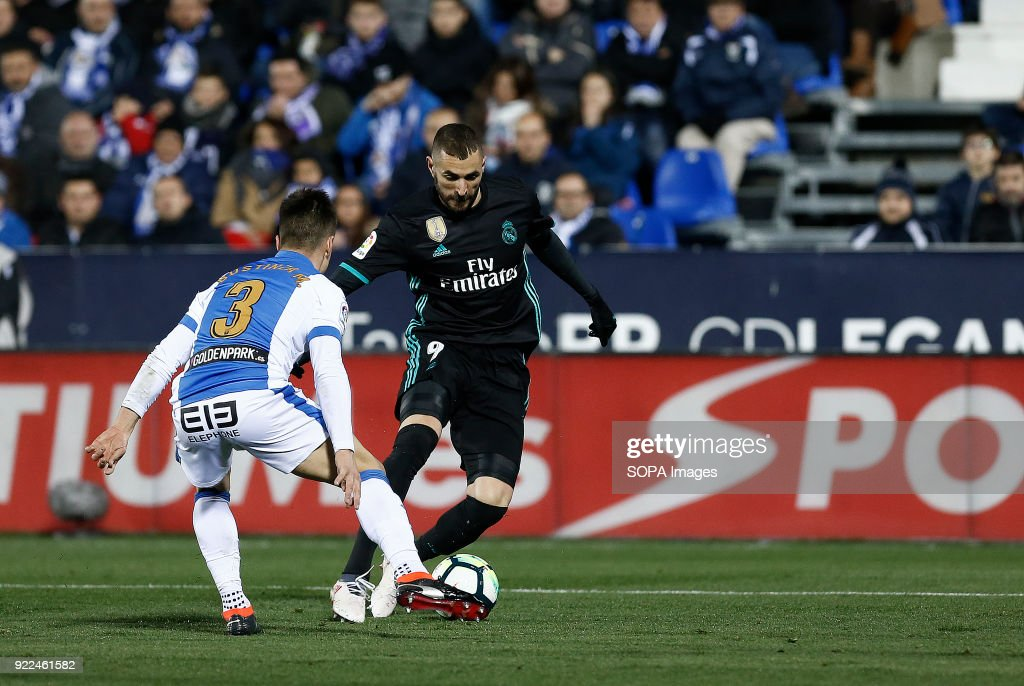 BUTARQUE, LEGANES, MADRID, SPAIN - : Karim Benzema (Real Madrid) in action during the match between Leganes vs Real Madrid at the Estadio Butarque. Final Score Leganes 1 Real Madrid 3.