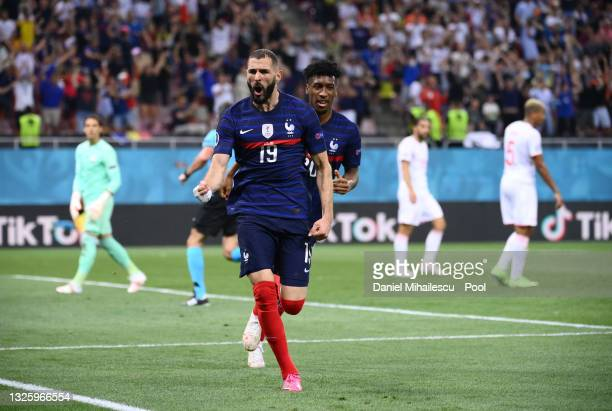 Karim Benzema of France celebrates after scoring their side's first goal during the UEFA Euro 2020 Championship Round of 16 match between France and...