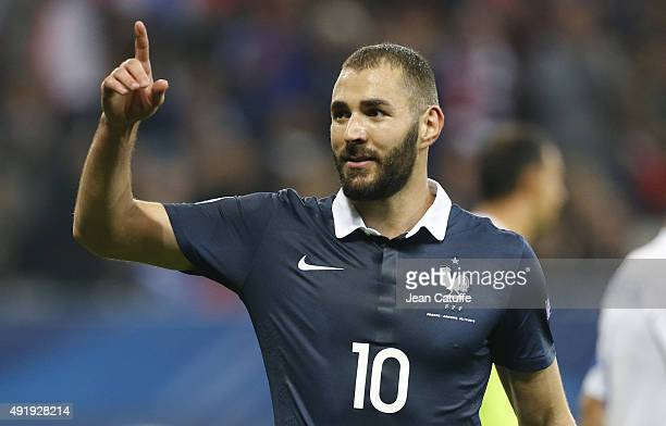 Karim Benzema of France celebrates scoring a goal during the international friendly match between France and Armenia at Allianz Riviera stadium on...