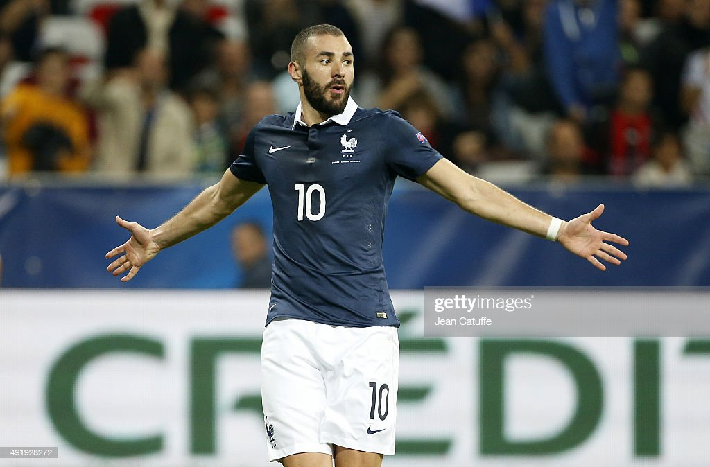 Karim Benzema of France celebrates scoring a goal during the international friendly match between France and Armenia at Allianz Riviera stadium on October 8, 2015 in Nice, France.