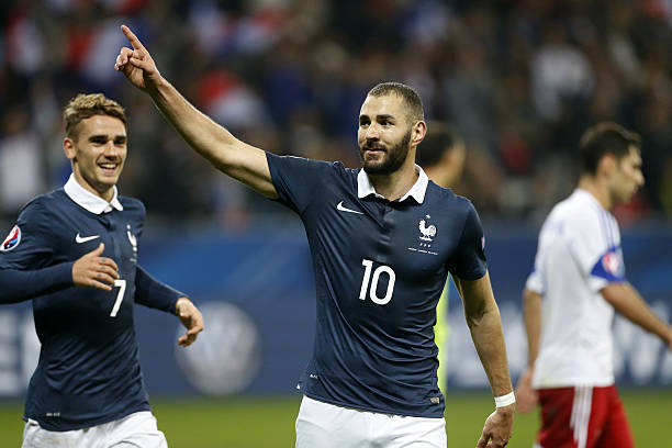 Karim Benzema of France celebrates scoring the fourth goal for his team during the international friendly match between France and Armenia at Allianz...