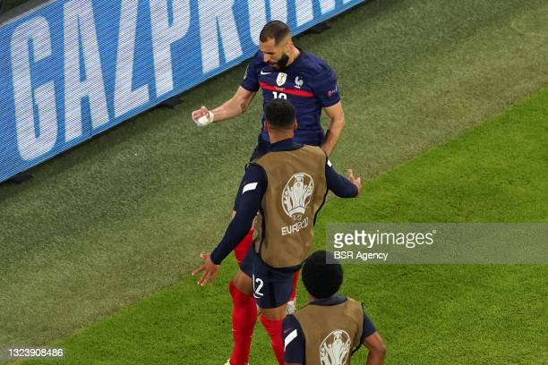 Karim Benzema of France celebrating his goal with his teammates that later got disallowed during the UEFA Euro 2020 match between France and Germany...