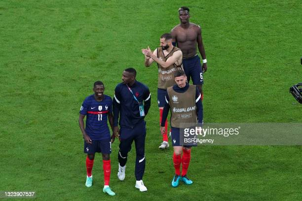 Karim Benzema of France celebrating with his teammates during the UEFA Euro 2020 match between France and Germany at Allianz Arena on June 15, 2021...
