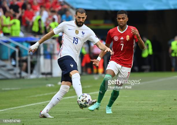Karim Benzema of France controls the ball whilst under pressure from Loic Nego of Hungary during the UEFA Euro 2020 Championship Group F match...
