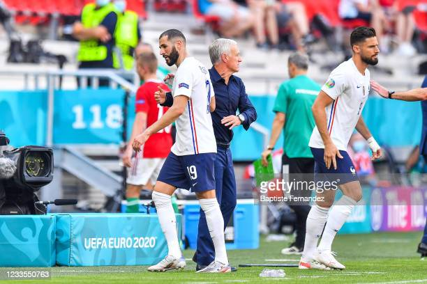 Karim BENZEMA of France, Didier DESCHAMPS head coach of France and Olivier GIROUD of France during the UEFA European Championship football match...