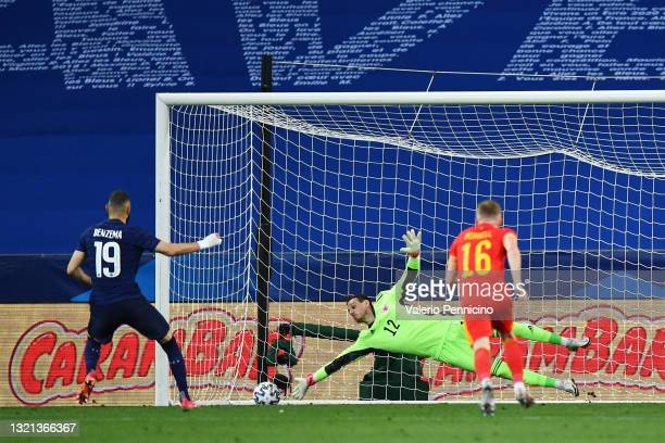 Karim Benzema of France has a penalty saved by Danny Ward of Wales during the international friendly match between France and Wales at Allianz...