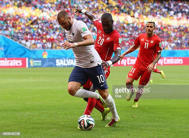 Karim Benzema of France has his penalty kick saved during the 2014 FIFA World Cup Brazil Group E match between Switzerland and France at Arena Fonte...