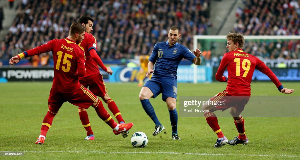 Karim Benzema of France in action during a FIFA 2014 World Cup Qualifier between France and Spain at Stade de France on March 26, 2013 in Paris, France.