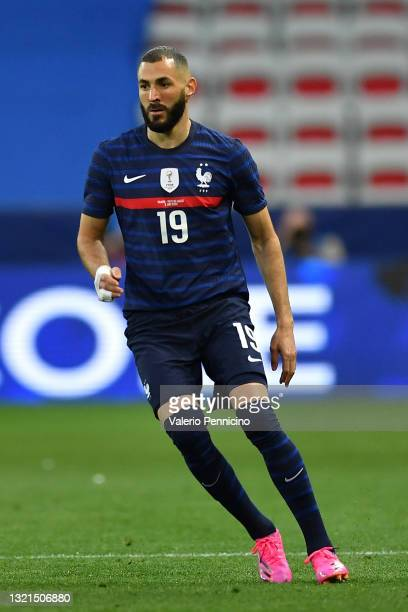 Karim Benzema of France in action during the international friendly match between France and Wales at Allianz Riviera on June 2, 2021 in Nice, France.