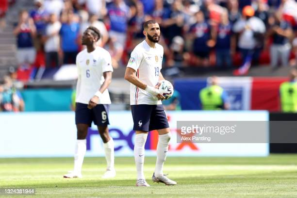 Karim Benzema of France looks dejected after Hungary's first goal scored by Attila Fiola during the UEFA Euro 2020 Championship Group F match between...