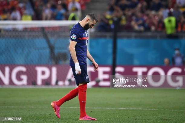 Karim Benzema of France looks dejected as he is substituted off during the UEFA Euro 2020 Championship Round of 16 match between France and...