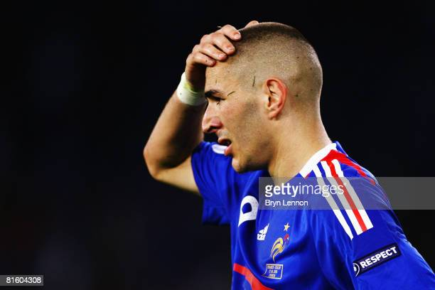 Karim Benzema of France looks dejected during the UEFA EURO 2008 Group C match between France and Italy at Letzigrund Stadion on June 17 2008 in...