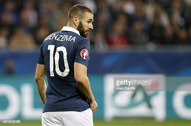 Karim Benzema of France looks on during the international friendly match between France and Armenia at Allianz Riviera stadium on October 8 2015 in...