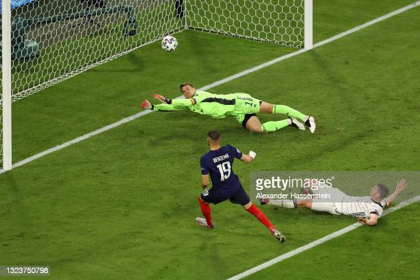 Karim Benzema of France scores a goal past Manuel Neuer of Germany that is later disallowed by VAR for offside during the UEFA Euro 2020 Championship...